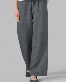 Solid Elastic Waist Wide Leg Pants