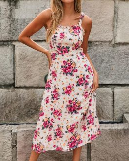 Spaghetti Strap Backless Ruffles Floral Boho Beach Dress