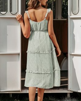 Spaghetti Strap Ruffles Backless Casual Chiffon Dress
