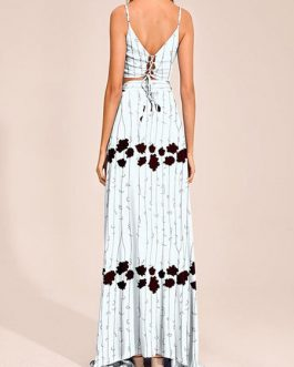 Spaghetti Straps Straps Neck Sleeveless Floral Print Backless Lace Up Boho Dress