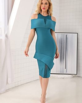 Spilt Knit Tight Wear Slash Neck Ruffles Bodycon Party Dress