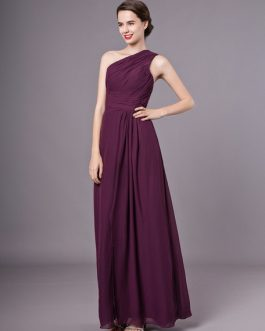 Splitting One-Shoulder Chiffon Matte Satin Bridesmaid Dress