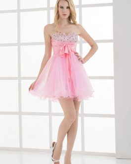 Strapless Bows Rhinestone A-Line Tulle Bridesmaid Dress