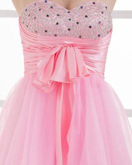 Strapless Bows Rhinestone A-Line Tulle Bridesmaid Dress