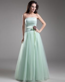 Strapless Evening Dress Waist Flower Floor Length Tulle Prom Dress