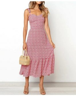 Strapless Printed Casual Twist Ruffles Beach Dress
