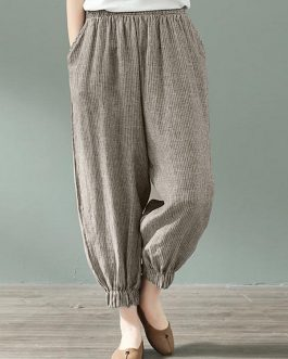 Stripe Elastic Waist Loose Pocket Casual Pants