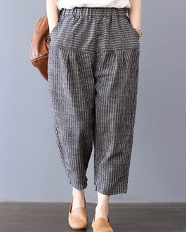 Stripe Elastic Waist Pockets Harem Pants
