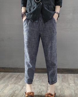 Striped High Waist Long Harem Pants Loose Trousers