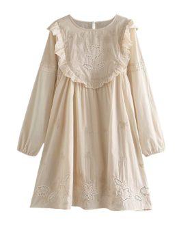Stylish Sweet Flower Ruffles Embroidery Mini Dress