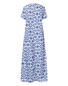 Beach Short Sleeve Bohemia Printed Maxi Dress