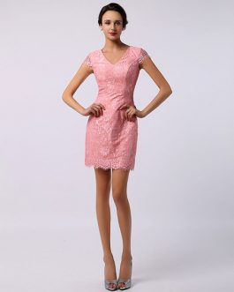 Sweet V-Neck Cap Sleeve Lace Bridesmaid Dress