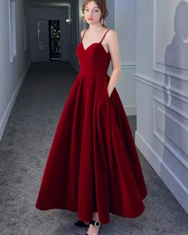 Sweetheart Neck Velour Formal Party Dresses