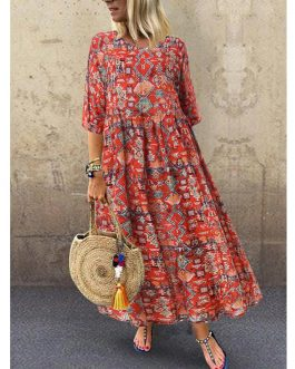 Three Quarter Sleeve Bohemia Vintage Print Floral Dress