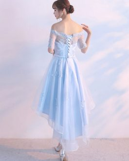 Illusion Sash Off The Shoulder Lace Applique Homecoming Dresses