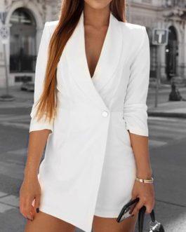 V Neck Button Half Sleeve Streetwear Office Ladies Romper