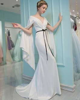 V Neck Long Sleeve Mermaid Ribbon Sash Elastic Satin Formal Dresses