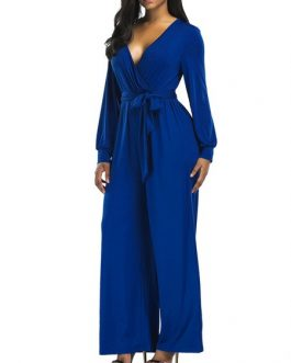 V Neck Long Sleeves Cotton Blend Straight Playsuit