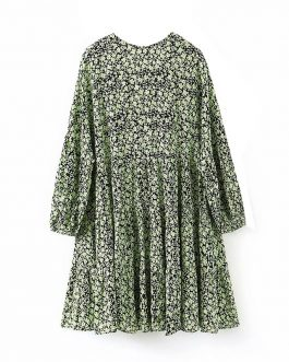 Vintage Floral Print Long Sleeve Loose Mini Dress