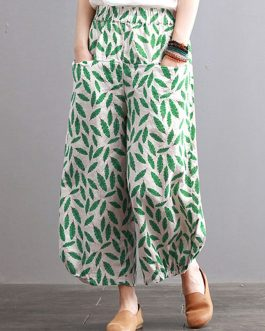 Vintage Leaves Print Pockets Elastic Waist Pants