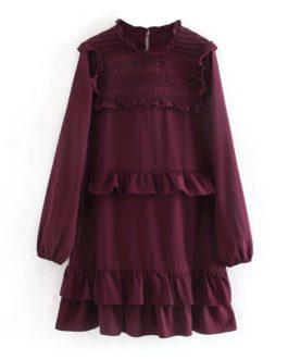 Vintage O Neck Lace Ruffle Casual Mini Dress