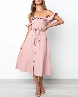 Vintage Ruffle Sexy Off Shoulder Sashes Midi Dress