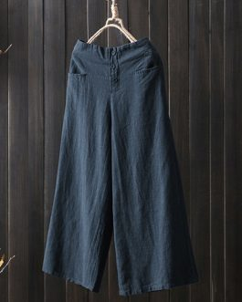 Vintage Solid Elastic Waist Wide Leg Pants with Pockets