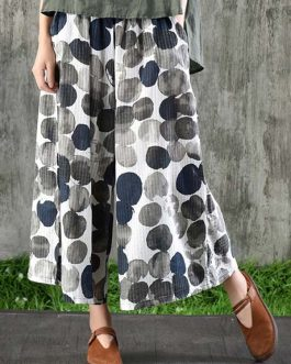 Wide Leg Cotton Polka Dot Printed Pockets Trouser Pants