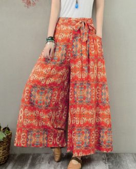 Wide Leg Floral Printed Elastic Waist Side Pockets Trousers Pants