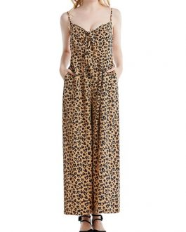 Wide Leg Leopard Print Sleeveless One Piece Jumpsuit