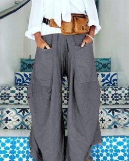 Wide Legged Elastic Waist Pure Color Pockets Pants