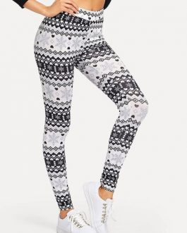 Woman Leggings Slim Printed Polyester Leggings