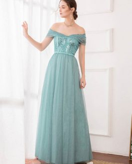 A Line Bateau Neck Chiffon Sleeveless Sequins Wedding Guest Prom Dresses