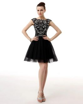 A Line Glitter Beaded Crystal Cocktail Homecoming Dress
