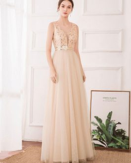 A Line V Neck Chiffon Sleeveless Floor Length Pleated Party Prom Dresses