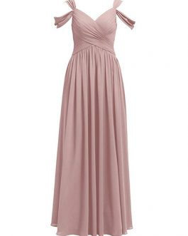 A Line V Neck Chiffon Sleeveless Pleated Floor Length Party Prom Dresses