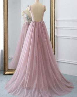 A Line V Neck Tulle Sleeveless Beaded Wedding Guest Prom Dresses