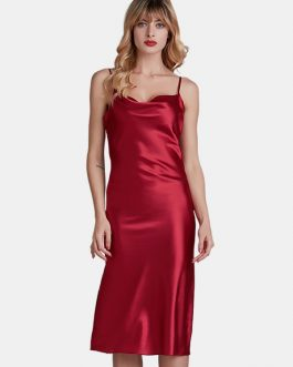 Adjustable Straps Backless Satin Glossy Nightgown