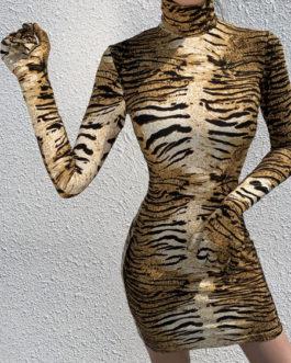 Animal Print Tiger Print High Collar Sexy Long Sleeves Pencil Mini Dress