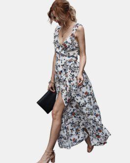 Backless Side Split Bohemian Floral Print Ruffle Sleeveless Maxi Dress
