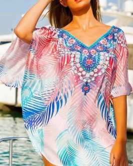Beach Cover Up Dress Floral Print V Neck Half Sleeves Chiffon Swimwear