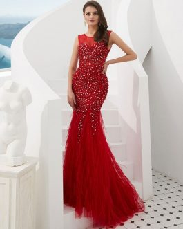 Beaded Feather Formal Evening Mermaid Dress With Train