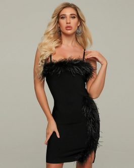 Spaghetti Strap Feather Sexy Club Party Mini Dress