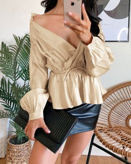 Blouse Layered Pleated Lace Up V Neck Sexy Long Sleeves Polyester Tops