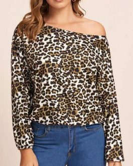 Blouse Leopard Print Bateau Neck Casual Long Sleeves Polyester Tops