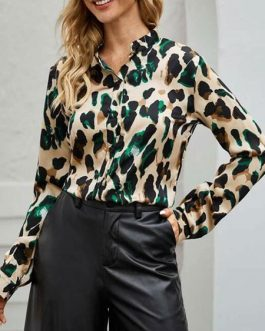 Blouse Leopard Print Jewel Neck Casual Long Sleeves Polyester Tops