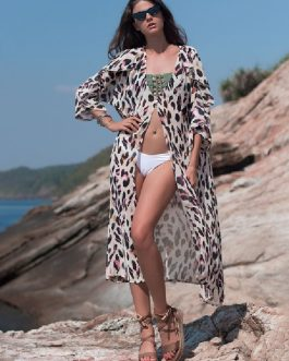 Leopard Print Sexy V Neck Vacation Swim Cover Ups