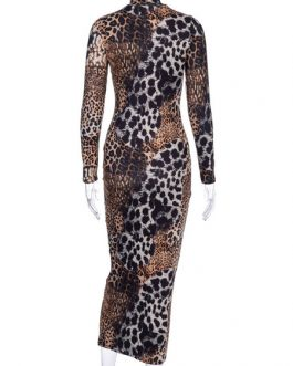 Bodycon Leopard Print Jewel Neck Sexy Long Sleeves Pencil Dress