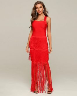 Fringe Sexy Sleeveless Tube Top Bandage Dress