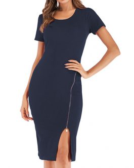 Bodycon Short Sleeves Zipper Casual High Collar Midi Sheath Dress